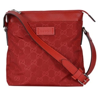"Gucci 510339 Small Red Nylon Leather GG Guccissima Crossbody Messenger Bag - 8.5"" x 9"" x 2"""