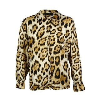 INC International Concept Women's Animal Chiffon Blouse - fancy leopard