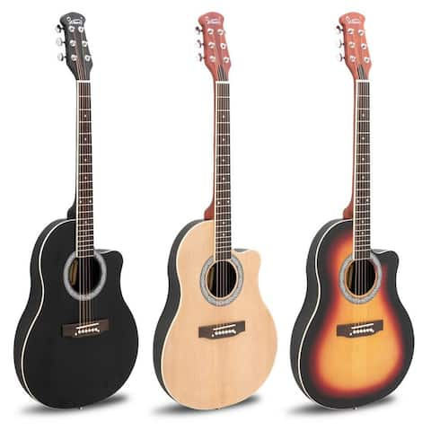 Glarry GT101 41 inch Acoustic Guitar Spruce Top Cutaway Round Voice Hole Round Back