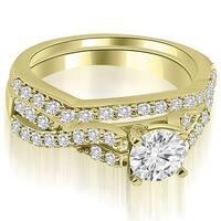 14K Yellow Gold 1.15 CT.TW Twisted Split Shank Round Cut Diamond Bridal Set HI,SI1-2