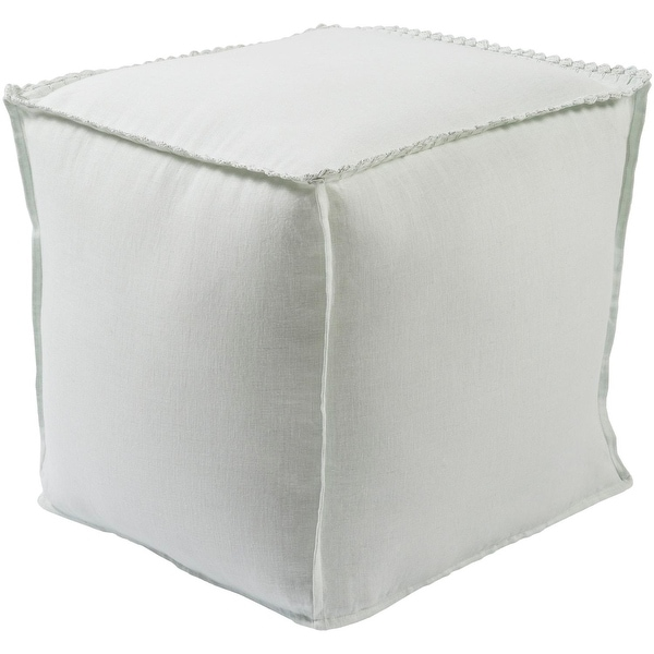 White Pouf Ottoman Magnificent Shop 60 White Ice Blue Piping Edged Decorative Indoor Square Pouf