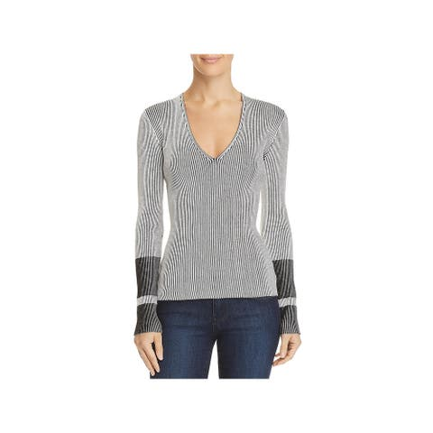 Theory Womens Optic Stripe Pullover Sweater Ribbed Knit V-Neck - Eggshell/Black