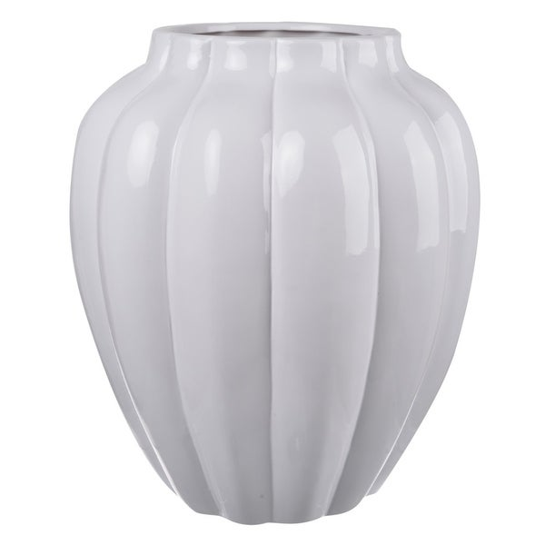 Ribbed Ceramic Vase With Narrow Bottom, White