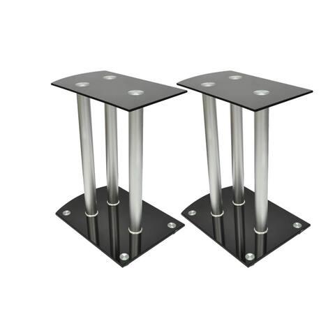 vidaXL Aluminum Speaker Stands 2 pcs Black Glass