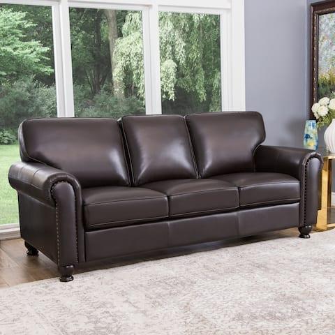 Abbyson London Brown Top Grain Leather Sofa