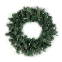 """24"""" Pre-Lit Natural Frasier Fir Artificial Christmas Wreath - Multi Lights - green"""