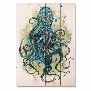 Day Dream WCBO1420 14 x 20 in. Colorful Blue Octopus Wall Art