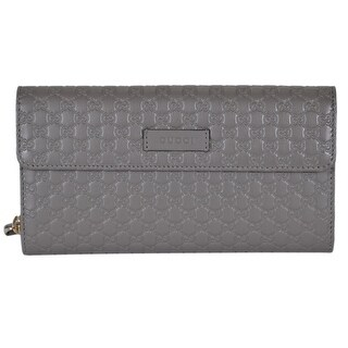 Gucci Women's 449364 Grey Leather Micro GG Continental Bifold Wallet W/Zip - 8 x 4 inches
