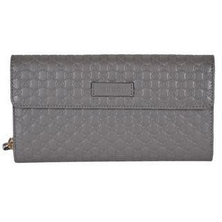 d60d8e8c81e Gucci Women s 449364 Grey Leather Micro GG Continental Bifold Wallet W Zip  - 8 x