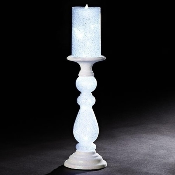 """Pack of 2 White Glittery Finish Candle on Led Lighted Stand Tabletop Figurines 18"""""""