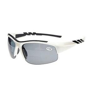 Eyekepper TR90 Sports Bifocal Half Rimless Sunglasses White Frame Grey Lens +1.0