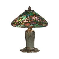 "12"" Antique Bronze/Verde Floral Leaf Hand Crafted Glass Tiffany-Style Table Lamp - Pink"