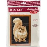 """Persian Cat Counted Cross Stitch Kit-10.25""""X15"""" 10 Count"""