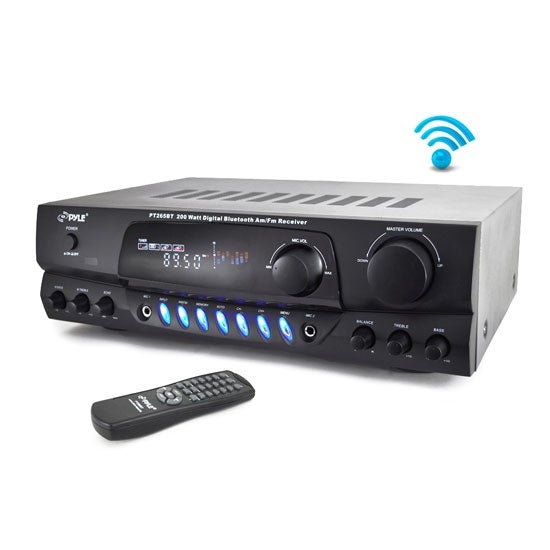 Home Theater Bluetooth Receiver Amplifier with AM/FM Radio & Two Microphone Inputs for Karaoke Mixing, 200 Watt