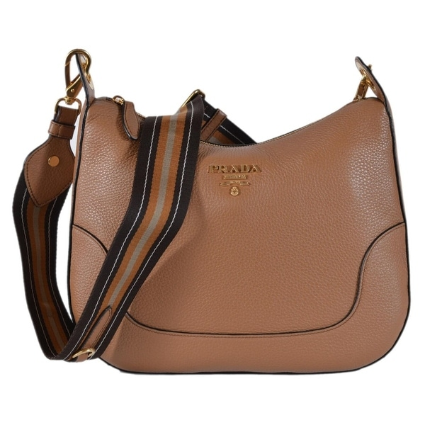 1290caf43ace Prada 1BC052 Cuoio Tan Soft Leather Daino Stripe Strap Crossbody Purse Bag  - Beige/Brown