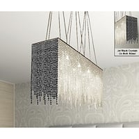 Modern 10 Light Chandelier With Black Crystal