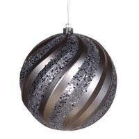 """6"""" Pewter Matte-Glitter Swirl Ball"""