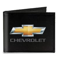 Chevy Bowtie Chevrolet Black Gold Gray Canvas Bi Fold Wallet One Size - One Size Fits most