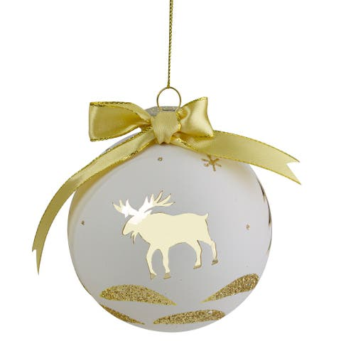 """4"""" Gold and White Moose Christmas Ball Ornament"""