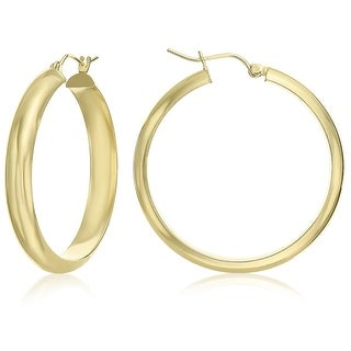 Mcs Jewelry Inc  14 KARAT YELLOW GOLD CLASSIC HOOP EARRINGS HALF ROUND 35MM