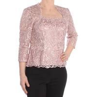 ALEX EVENINGS Womens Pink Textured 3/4 Sleeve Jewel Neck Formal Top  Size: 6