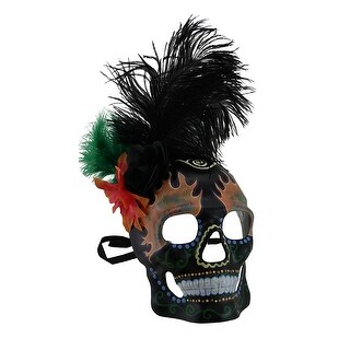 Flowers and Feather Black Day of Dead Flame Eyes Full Face Skull Mask
