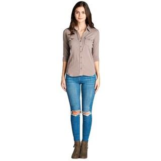 NE PEOPLE WOMEN'S Cozy Half Sleeve Button Down Shirt with Side Rib Panel (Option: Khaki - S)