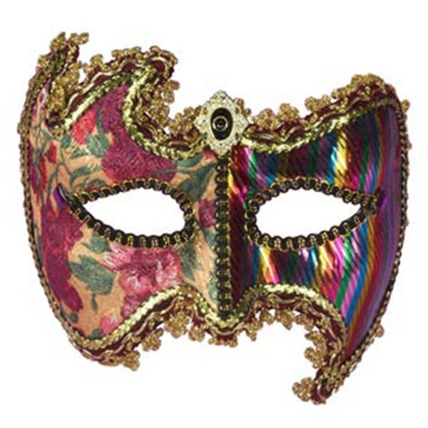 Glamour Multi-Colored Mardi Gras Costume Half Mask - Gold