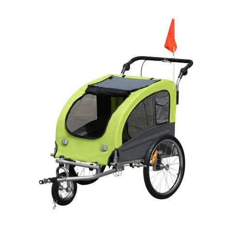 """Aosom Elite II 2-In-1 Pet Dog Bike Trailer And Stroller With Suspension And Storage Pockets - 61"""" D x 32.75"""" W x 40.5"""" T"""