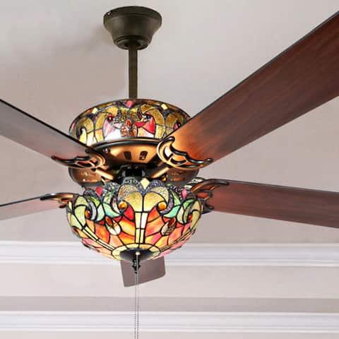 "Tiffany Style Stained Glass Halston Ceiling Fan - Spice - 52""L x 52""W x 19""H"