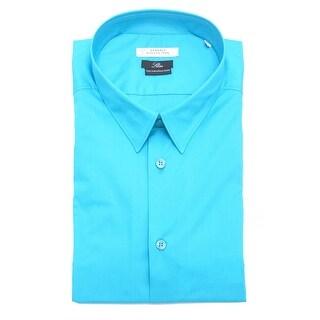 Versace Men Slim Fit Cotton Dress Shirt Turquise