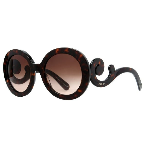 Prada SPR 27N 2AU-6S1 Brown Havana Baroque Swirl Women's Round Sunglasses - Havana Brown - 55mm-22mm-135mm