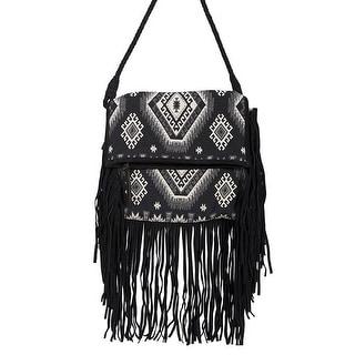 Scully Western Handbag Womens Aztec Fringe Cross Body Flap Black B157 - One size
