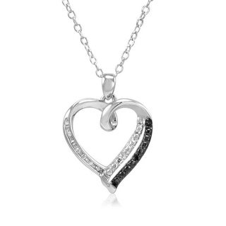 Amanda Rose Black and White Diamond Heart Pendant-Necklace in Sterling Silver