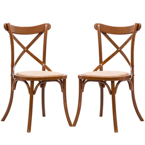 Shop Gymax Set Of 2 Cross Back Dining Side Chair Solid
