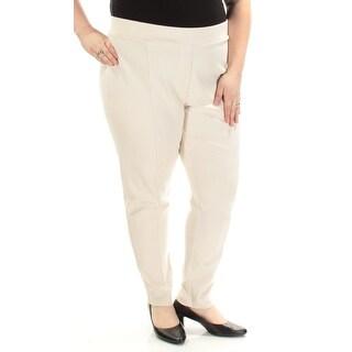 STYLE & COMPANY $36 Womens New 1094 Ivory Mid Rise Skinny Leggings 24W Plus B+B