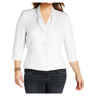 Le Suit Womens Petites Three-Button Blazer Textured 3/4 Sleeves