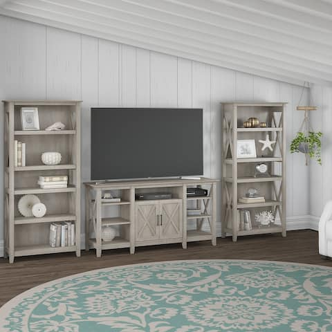 The Gray Barn Tall Farmhouse TV Stand with 2 Bookcases