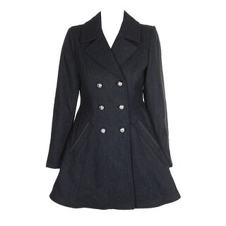 Laundry By Shelli Segal Charcoal Double-Breasted Skirted Peacoat S