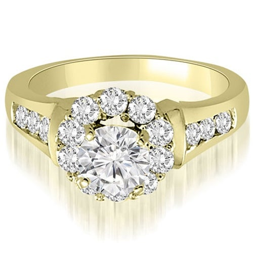 2.00 cttw. 14K Yellow Gold Halo Round Cut Diamond Engagement Ring