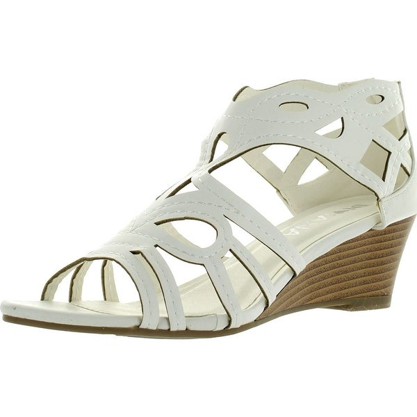 Diviana Nicki-18 Womens Cut Out Back Zip Wedge Sandals