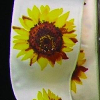 """Yellow and Ivory Sunflower Woven Taffeta Craft Ribbon 1.5"""" x 27 Yards"""