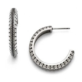 Chisel Stainless Steel Polished and Antiqued Post Hoop Earrings