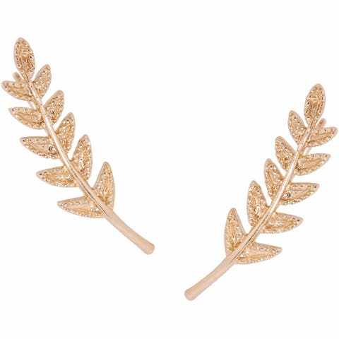 Humble Chic Tiny Leaf Ear Climbers - Delicate Crawler Cuff Stud Jacket Earrings