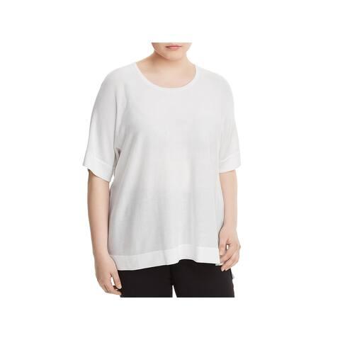 Eileen Fisher Womens Plus Pullover Sweater Silk Blend Step Hem
