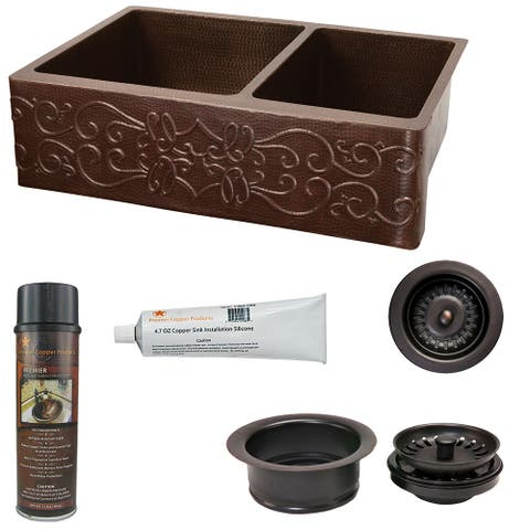 Premier Copper Products KSP3_KA60DB33229S Kitchen Sink and Drain Package