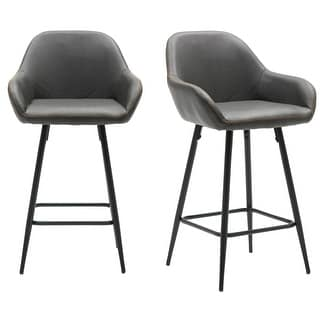 "Link to 25"" Bucket Upholstered Dark Accent Dining counter Barstool Chair Set OF 2 Similar Items in Dining Room & Bar Furniture"