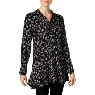 Chelsea & Theodore Womens Tunic Top Floral Print Button Down
