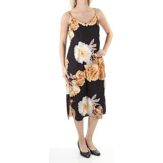Womens Gold Black Floral Spaghetti Strap Below The Knee Dress Size: 6