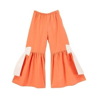 Little Girls Orange Contrast Bow Attached Flared Boho Chic Cotton Pants
